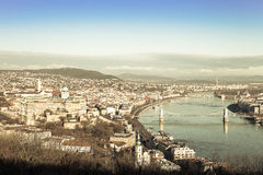 View on Budapest from Gellert Hill, Hungary. Houses, river Danub Stock Image