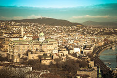 View on Budapest from Gellert Hill, Hungary. Houses, river Danub Royalty Free Stock Image