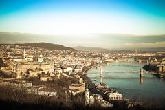 View on Budapest from Gellert Hill, Hungary. Houses, river Danub Royalty Free Stock Photo