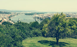 View on Budapest from a hill Royalty Free Stock Photography