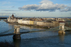 View of Budapest, Hungary. View of downtown Budapest, Hungary, with Chain bridge and the Parliament Stock Photography
