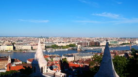 View at Budapest, Hungary from Fishermans Bastion stock footage