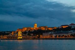 Panorama of the Danube river. View of Budapest. Old buildings of the Hungarian Parliament and medieval temples and buildings stock images