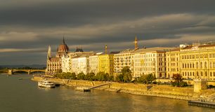 Panorama of the Danube river. View of Budapest. Old buildings of the Hungarian Parliament and medieval temples and buildings stock photos