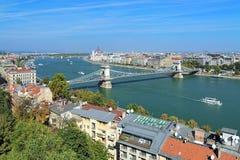 View of Budapest with Szechenyi Chain Bridge, Hungary Stock Photos