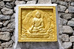 Buddha`s golden detail on stupa, Ladakh - India stock photos