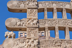 A view of the buddhism sculpture in Sanchi temple / India Royalty Free Stock Photos