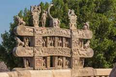 A view of the buddhism sculpture in Sanchi temple / India Royalty Free Stock Image