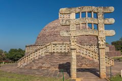 A view of the buddhism temple in Sanchi / India Royalty Free Stock Photography