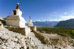 View of buddhist stupas in Nubra valley, Ladakh Stock Photos