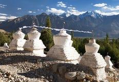 View of buddhist stupas in Nubra valley, Ladakh Royalty Free Stock Image