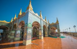 A view of buddhist temple in Mandalay, Myanmar. A beautiful view of buddhist temple in Mandalay city, Myanmar royalty free stock image