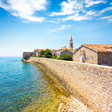 View of Budva Old Town Citadel and Blue Sea Stock Images