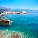 View of Budva Old Town with Clear Blue Water Royalty Free Stock Images