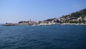 View of Budva Port and Old City stock video
