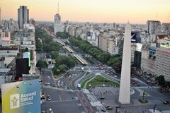 View of Buenos Aires, Argentina, 18th of February of 2017. View of Buenos Aires, Argentina at sunset. 18th of February of 2017 stock photo