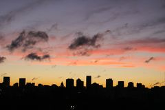 View of the Buenos Aires skyline at sunset, Argentina. View of the Buenos Aires skyline at sunset, Buenos Aires, Argentina stock image