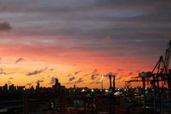 View of the Buenos Aires skyline at sunset, Argentina royalty free stock image