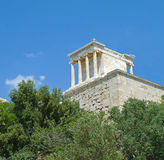 View of building on Acropolis, Athens, Greece. View of a monument on the Acropolis in Athens, Greece, taken from below Royalty Free Stock Photos