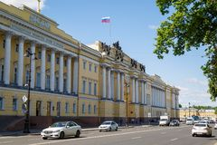 View on the building of the Boris Yeltsin Presidential Library on a sunny spring day stock photo