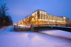 View of the building of the Central Naval Museum from the side of the Moika river. Saint Petersburg. ST PETERSBURG, RUSSIA - JANUARY 30, 2018: View of the Stock Photography