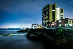 View of a building and cliffs along the Pacific Ocean  Royalty Free Stock Image