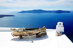 The view on building decoration in Fira town Royalty Free Stock Photography