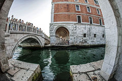 View from a building delving at one canal in Venice 1 Stock Images