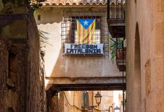 View of building with the flag of Estelada, Tarragona, Catalunya, Spain. Copy space for text. View of building with the flag of Estelada, Tarragona, Catalunya Royalty Free Stock Image