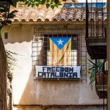 View of building with the flag of Estelada, Tarragona, Catalunya, Spain. Copy space for text. View of building with the flag of Estelada, Tarragona, Catalunya Stock Photos