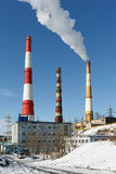 View on building Kamchatka CHP-1 with smoking pipes. Russia Stock Photo