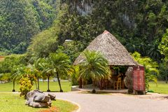 View on the building in the mountains, Vinales, Pinar del Rio, Cuba. Copy space for text. Stock Images