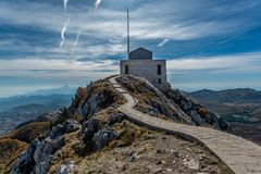 View of the building Njegos Mausoleum in National Park Lovcen, M. Ontenegro Royalty Free Stock Image
