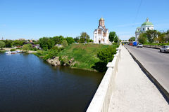 The view on building of organ music and Ros river Royalty Free Stock Photos