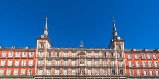 View of the building of the Plaza Mayor, Madrid, Spain. Copy space for text. View of the building of the Plaza Mayor, Madrid, Spain. Copy space for text Royalty Free Stock Photos