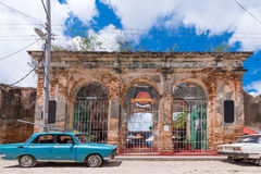View of the building and retro cars, Trinidad, Sancti Spiritus, Cuba. Copy space for text Stock Photography