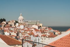 View of the building`s roofs next to the port of Lisbon, Portugal royalty free stock photos