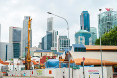 View on building site against of modern city in Singapore Royalty Free Stock Photo