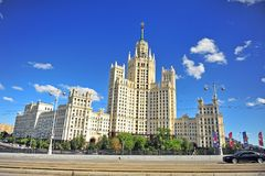 View of the building in Stalin Empire architectural style, Mosco Royalty Free Stock Images