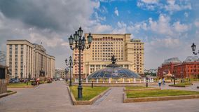 The building of the State Duma and the hotel `Four seasons`, Manezh square, Moscow stock image