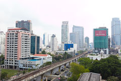 View of building and street on Sathorn road. Bangkok , Thailand - Mar 15 , 2014 : View of building and street on Sathorn road Bangkok Thailand Royalty Free Stock Photo