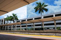 View of building beside train station, South Florida Stock Images