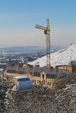 View building under construction from the slope of Mount Mashuk Stock Photo