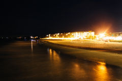 View of buildings along the beach at night in Folly Beach, South Stock Photography