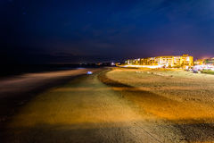 View of buildings along the beach at night in Folly Beach, South Royalty Free Stock Photo