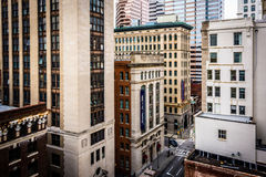 View of buildings along Calvert Street from a parking garage in Royalty Free Stock Image