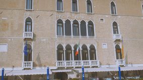 View of buildings along the Grand Canal from the water. Venice. Sunny day stock video footage