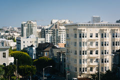 View of buildings along Scott Street from Alamo Square Park  Stock Images