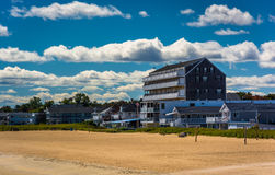 View of buildings on the beach in Old Orchard Beach, Maine. Stock Image