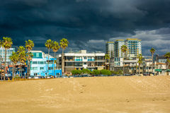 View of the buildings and the beach in Venice Beach  Royalty Free Stock Photo